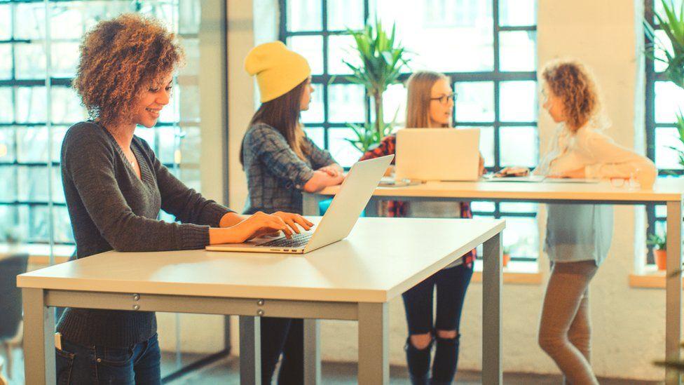 Women using standing desks