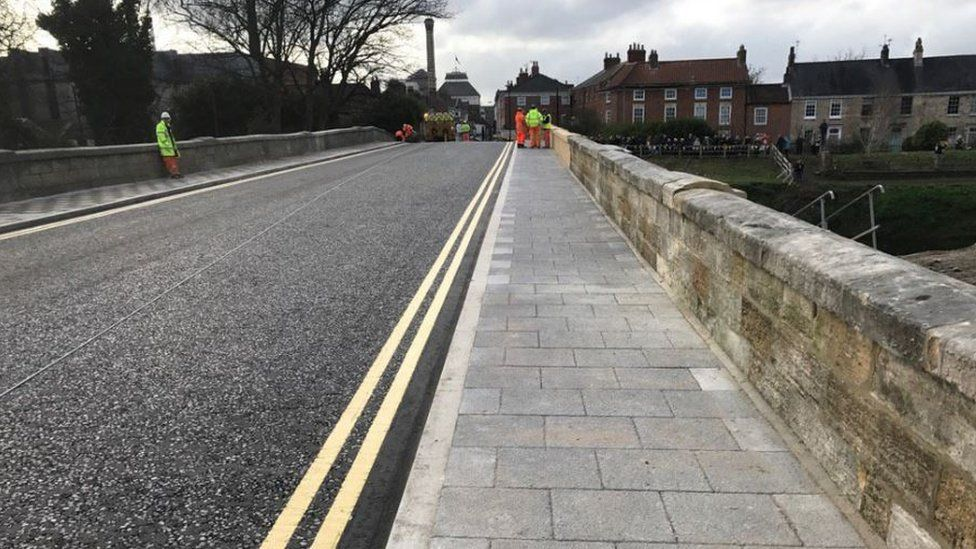 The new road surface on Tadcaster Bridge