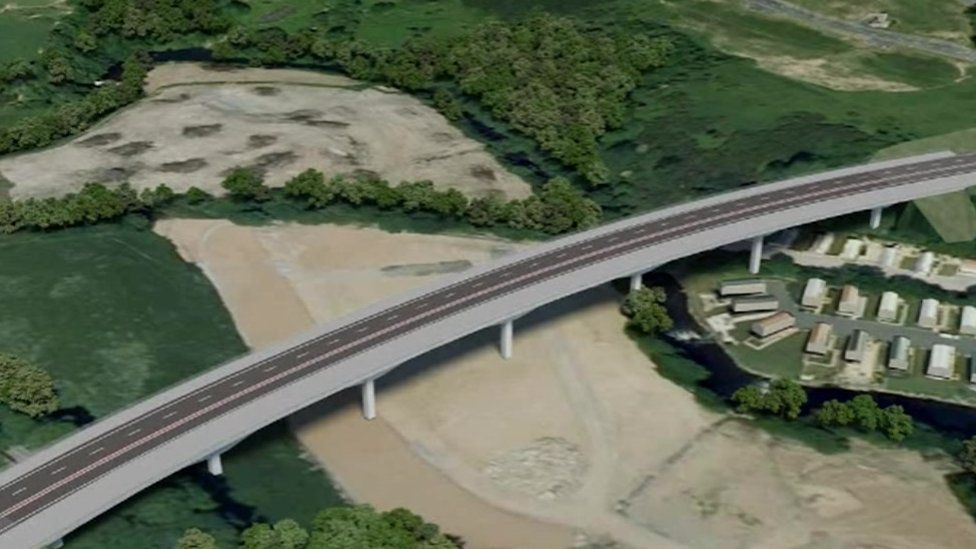 Computer generated image of one bridge for the Bontnewydd bypass