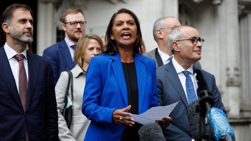Gina Miller speaks to the media outside the Supreme Court in central London on 24 September 2019
