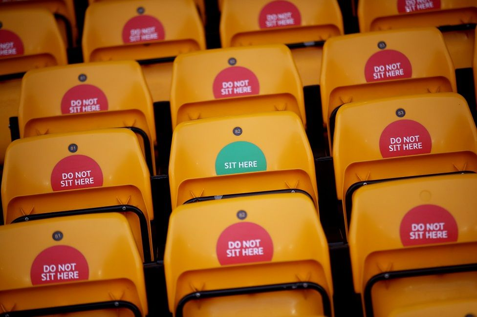 Stickers telling people where they can sit during coronavirus limits at Molyneux stadium, Wolverhampton
