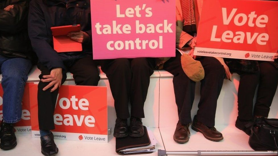 People with placards at Vote Leave rally