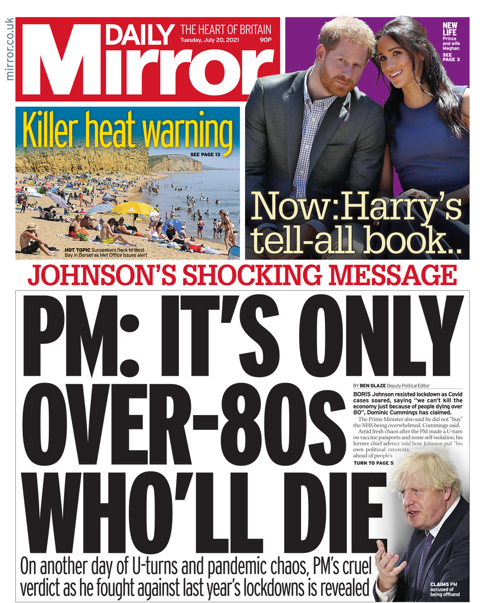 Daily Mirror front page 20/07/21