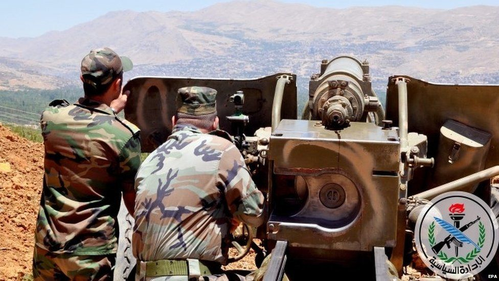 Syrian soldiers fire in operations in the al-Zabadani area west of Damascus. Sana handout 09/07/2015.