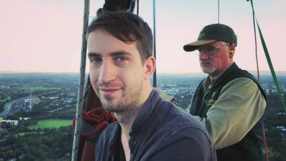 Phillip Hancock in a hot air balloon