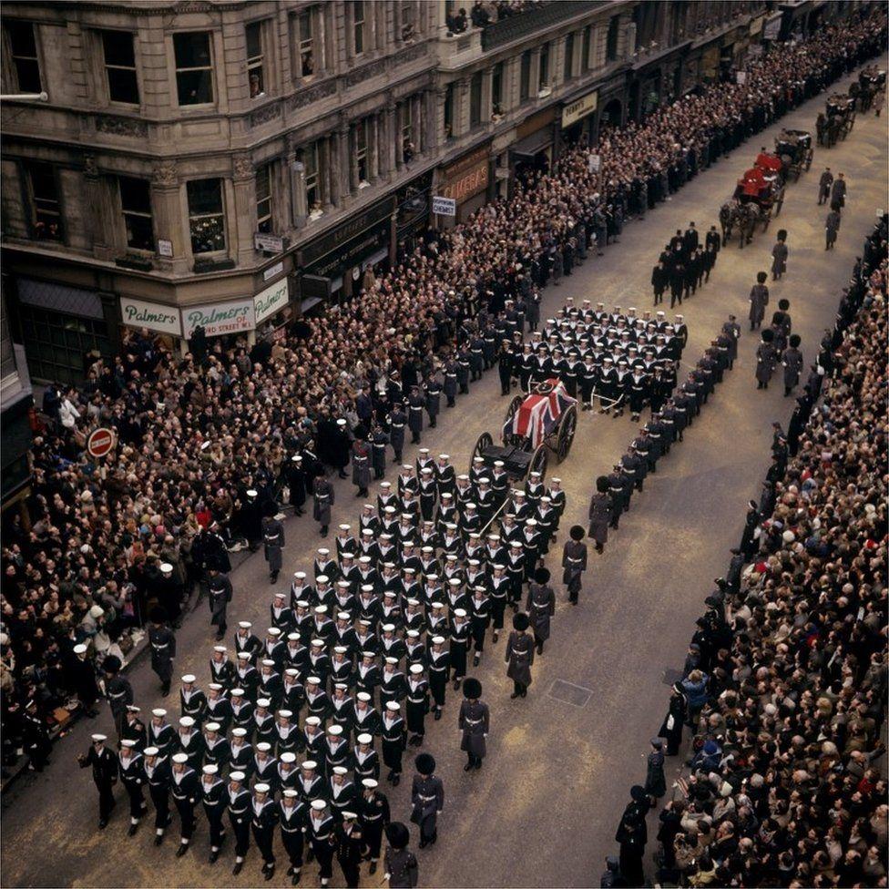 Churchill's funeral cortege on The Strand