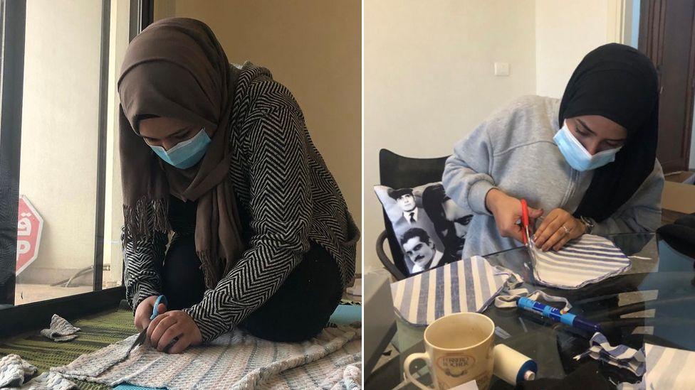 Women making period pads