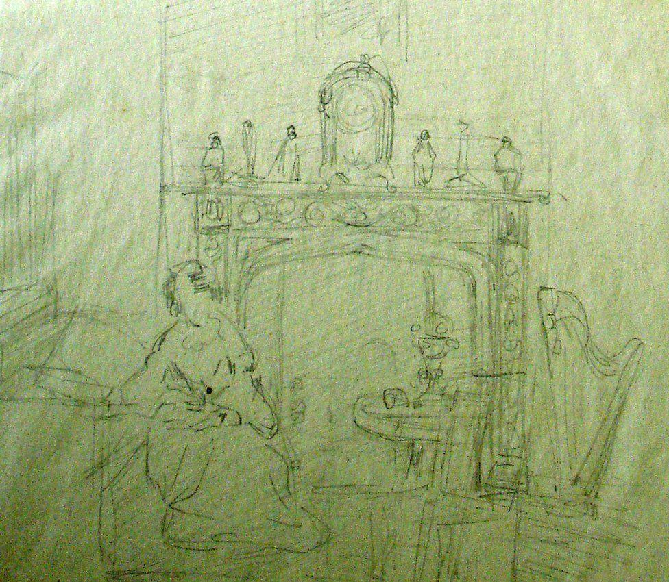 Sketch of Mary Clarke Mohl's salon by Hilary Bonham Carter