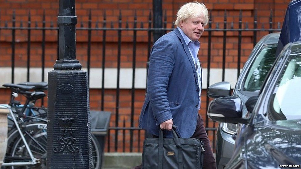 Boris Johnson leaving the Foreign Office