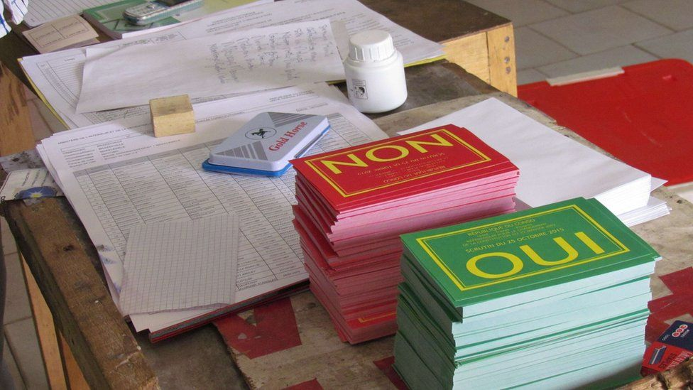 Piles of cards marked Yes and No