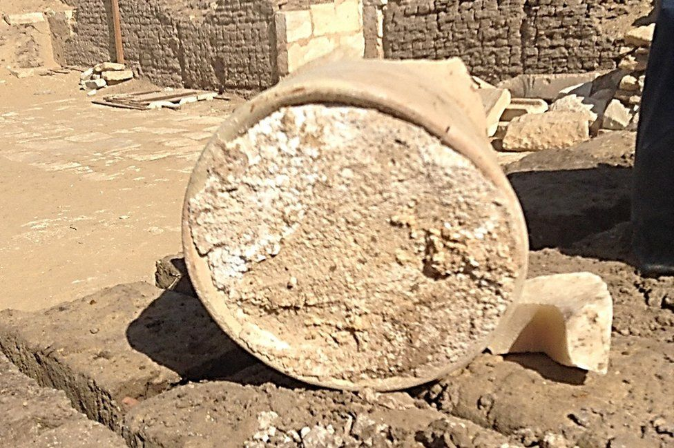 A broken jar containing a 3,200-year-old piece on cheese
