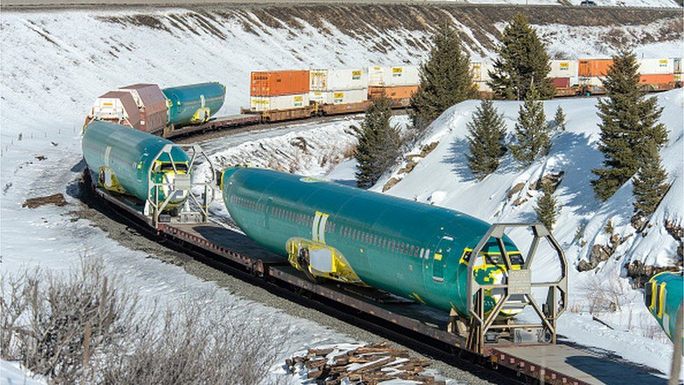 Boeing 737 Max 8 fuselages, manufactured by Spirit Aerosystems in Wichita being transported
