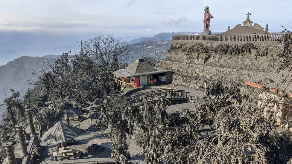 Ashfall after the eruption of the Taal volcano is seen in Tagaytay City, Cavite, Philippines January 13