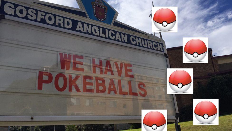 "Gosford Anglican Church billboard reads: ""We have Pokeballs"""