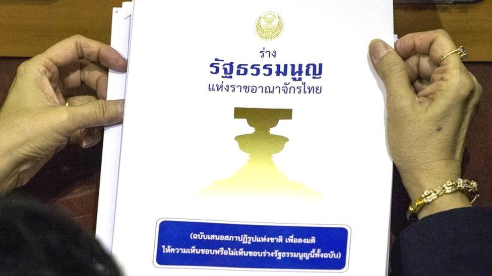 A draft of the rejected Thai constitution is pictured during a vote by members of the country's National Reform Council (NRC) at the parliament in Bangkok (06 September 2015)
