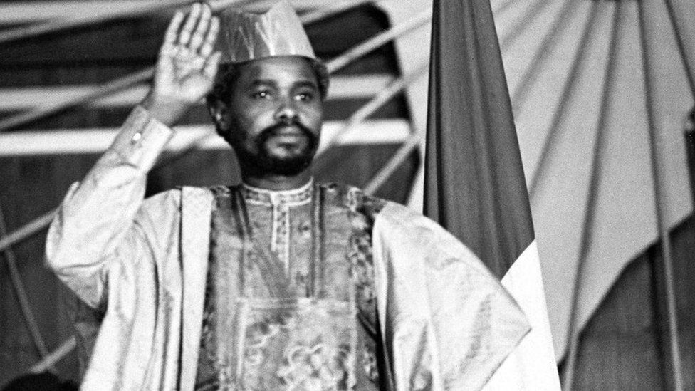 "A picture taken on August 16, 1983 shows Chad's president Hissen Habre during a press conference in N""Djamena"