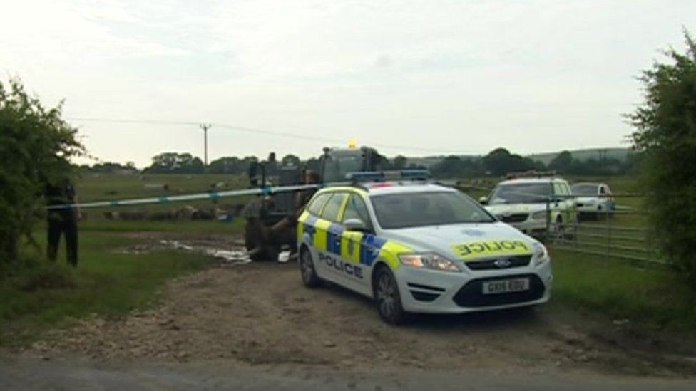 Police cordon at Goodwood air crash