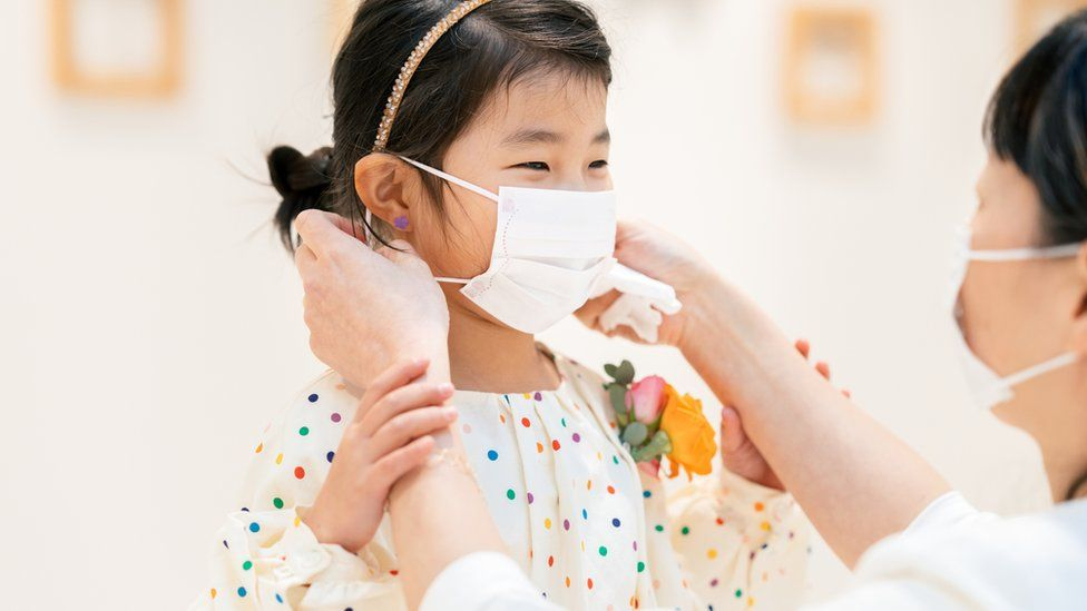 Mother putting protective mask on her young daughter's face.