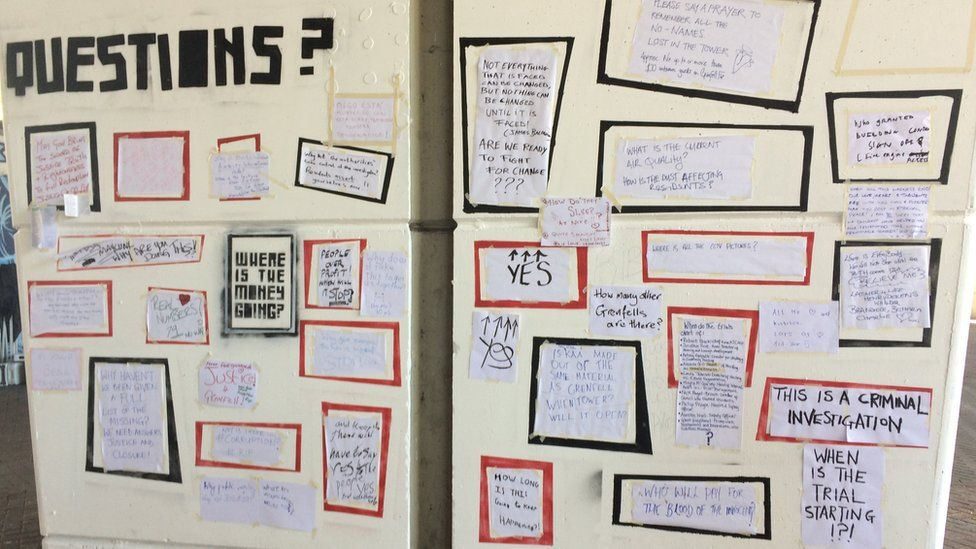 Wall of posters reading 'questions', 'where is the money going?' 'how many other Grenfell's are there?'