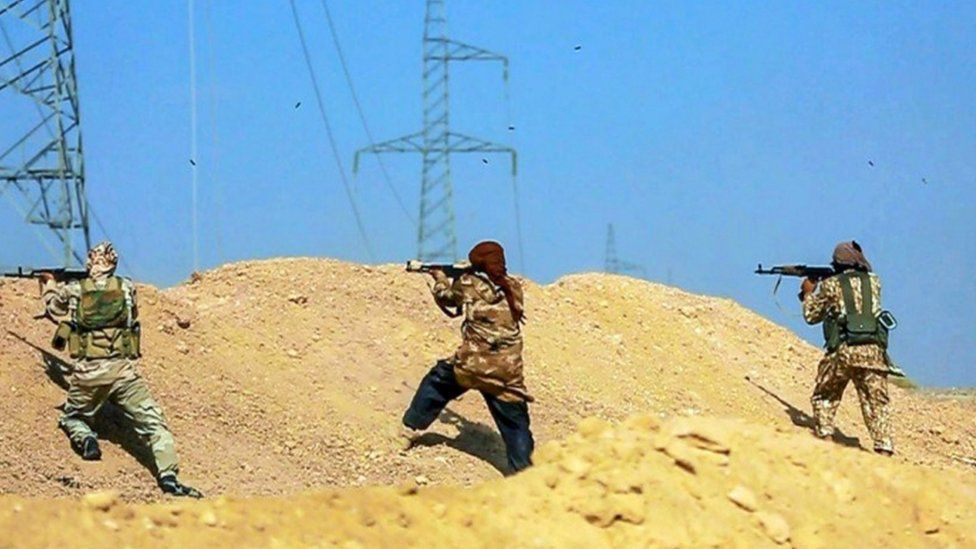 Fighters of so-called Islamic State in Deir al-Zour