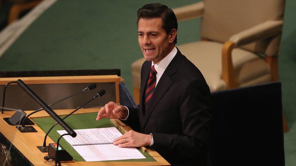 Mexico's president, Enrique Peña Nieto, speaking in New York