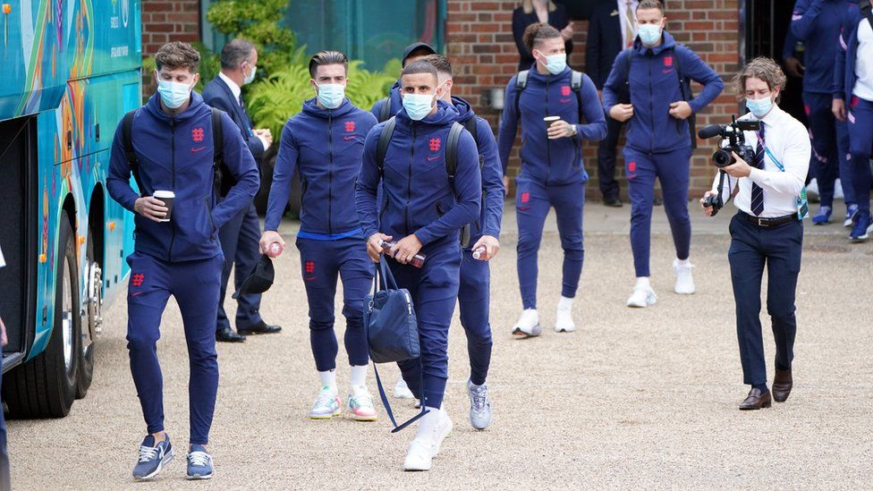 England players at the Grove Hotel, Hertfordshire as the team prepare to depart and head to Wembley