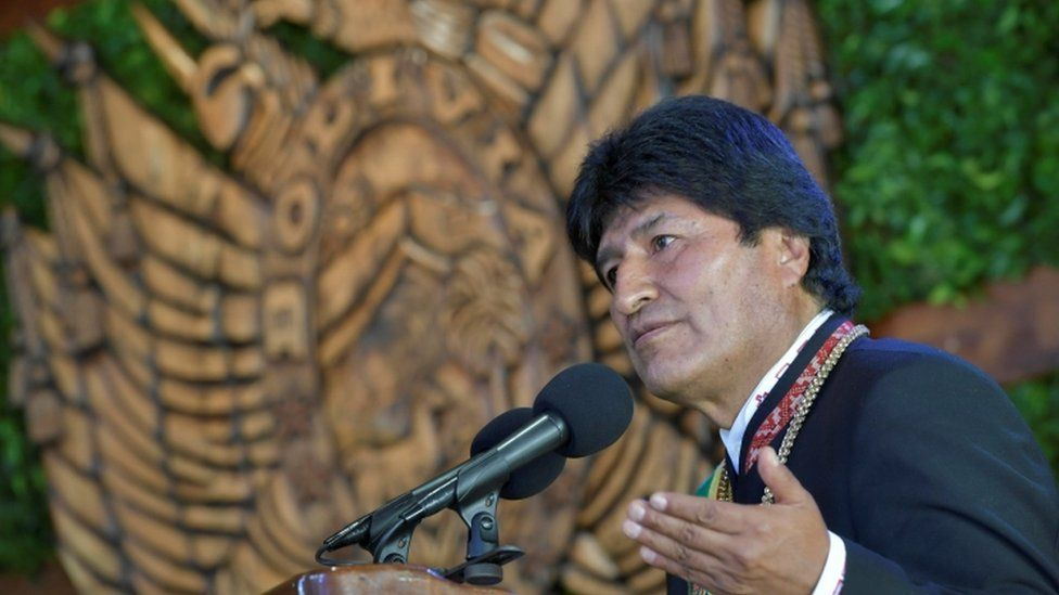 Bolivia's President Evo Morales speaks during a ceremony that marks the 192nd Bolivia's Anniversary in Cobija, Pando, Bolivia, August 6, 2017
