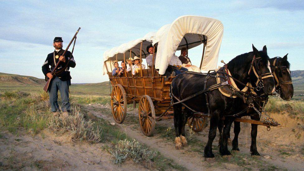 A horse drawn Conestoga wagon