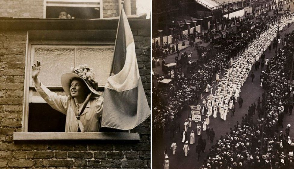 Christabel Pankhurst in 1909 (left) and the procession of the 'citizen P]pageant' in 1911