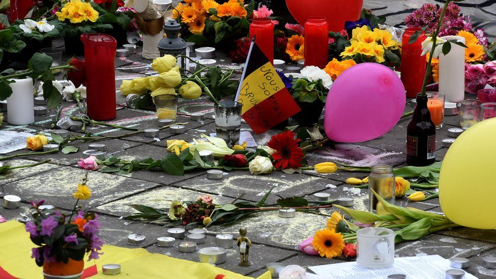 A makeshift memorial to those who died in the Brussels attacks