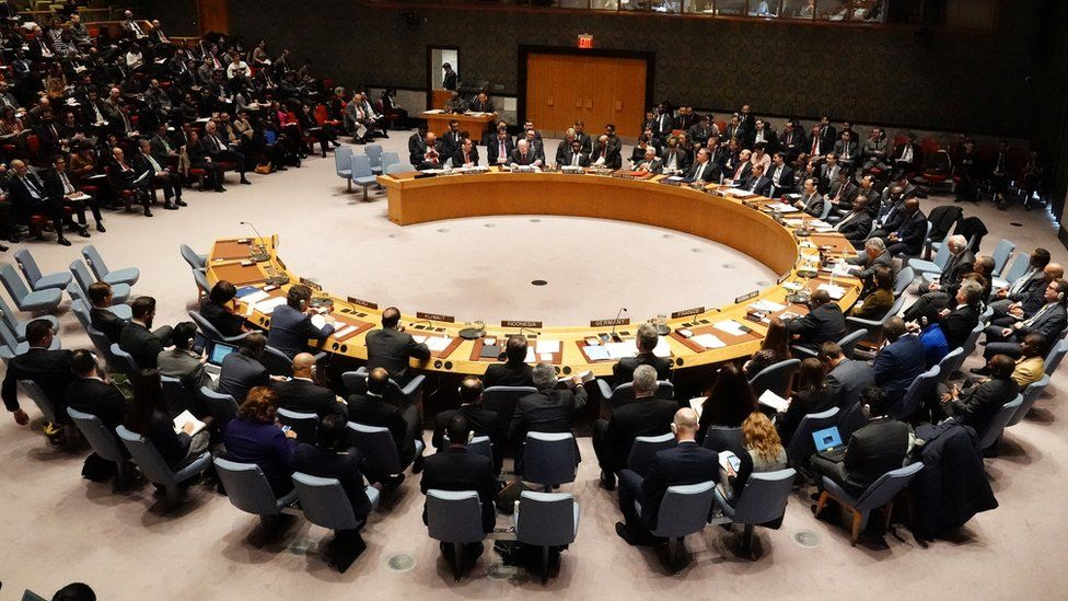 The UN Security Council meets about the situation in Venezuela in Manhattan, New York City, New York, 26 January 2019