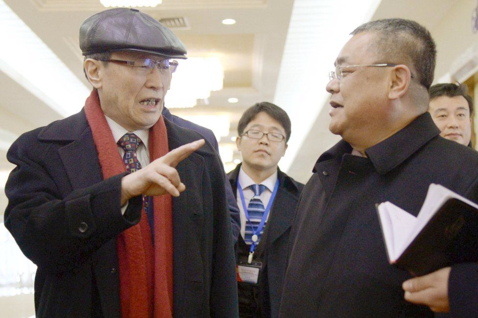 China's Special Representative for Korean Peninsula Affairs Wu Dawei (L) arrives at Pyongyang's international airport, in North Korea, in this photo released by Kyodo 2 February 2016.