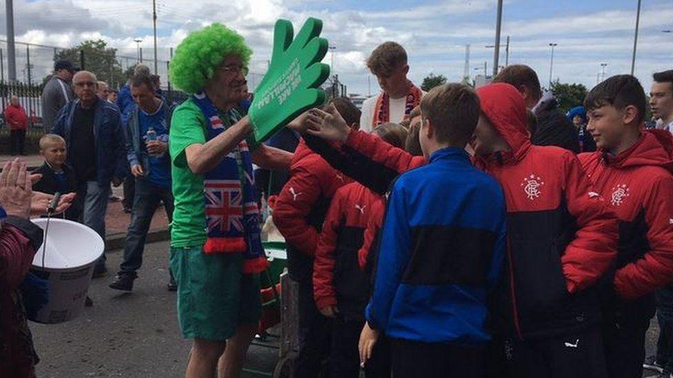 Fans greeted Mr Burkhill outside the Rangers' ground