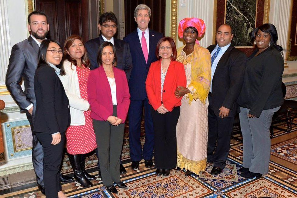 Shandra with other members of the Advisory Council on Human Trafficking and Secretary of State John Kerry