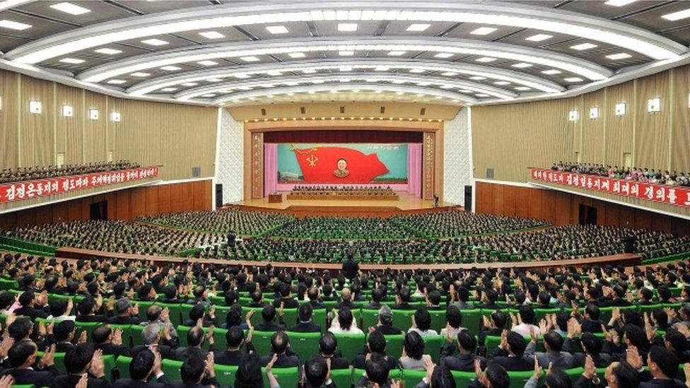 """A general view of a national meeting to mark the 52nd anniversary of leader Kim Jong Il""""s start of work at the Central Committee of the Workers"""" Party of Korea (WPK), in Pyongyang this undated photo released by North Korea""""s Korean Central News Agency (KCNA) on June 19, 2016."""