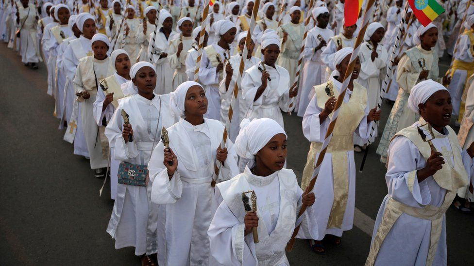 A church choir performs during the Meskel Festival to commemorate the discovery of the true cross on which Jesus Christ was crucified on at the Meskel Square in Addis Ababa, Ethiopia