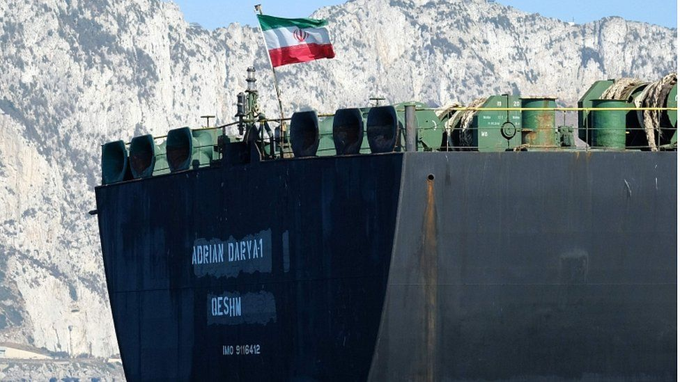 An Iranian flag flutters on board the Adrian Darya oil tanker, formerly known as Grace 1, off the coast of Gibraltar on August 18, 2019