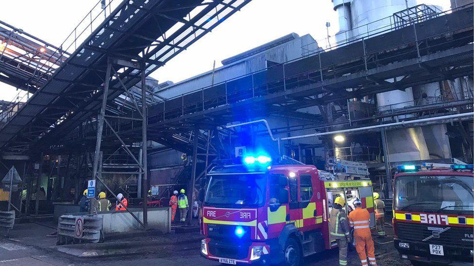 Fire crews at British Sugar processing plant