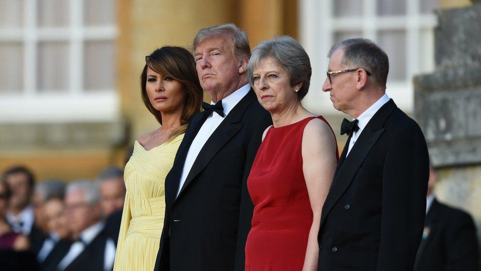 Theresa May and her husband Philip May greet Donald Trump, First Lady Melania Trump at Blenheim Palace