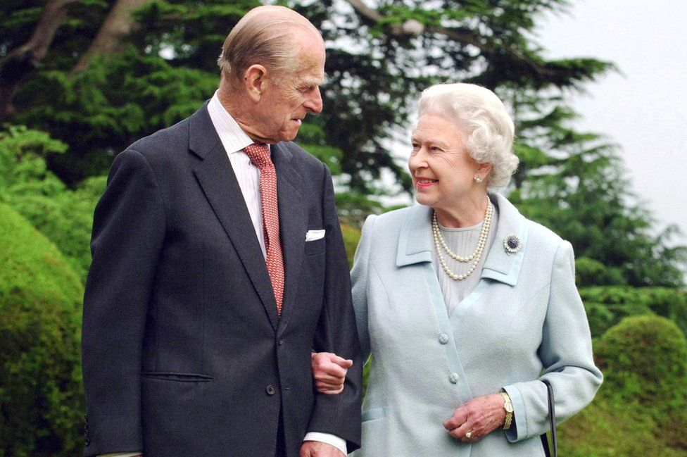 Britain's Queen Elizabeth II and her husband, the Duke of Edinburgh walk at Broadlands, Hampshire in 2007