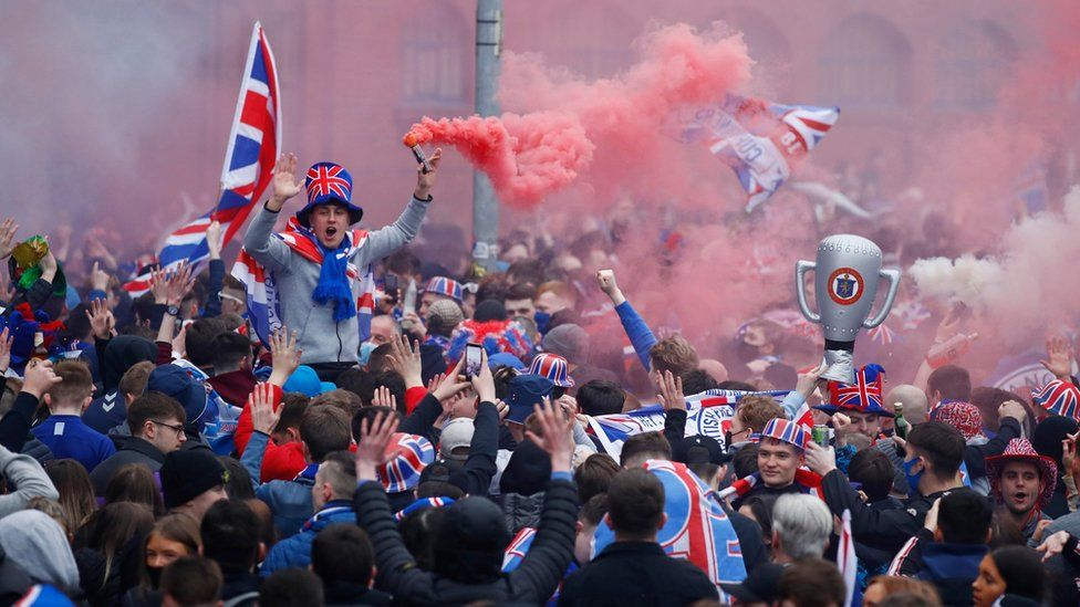 supporters outside Ibrox