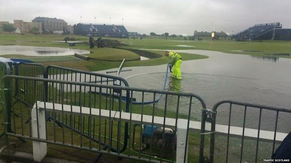 Water on grass at St Andrews