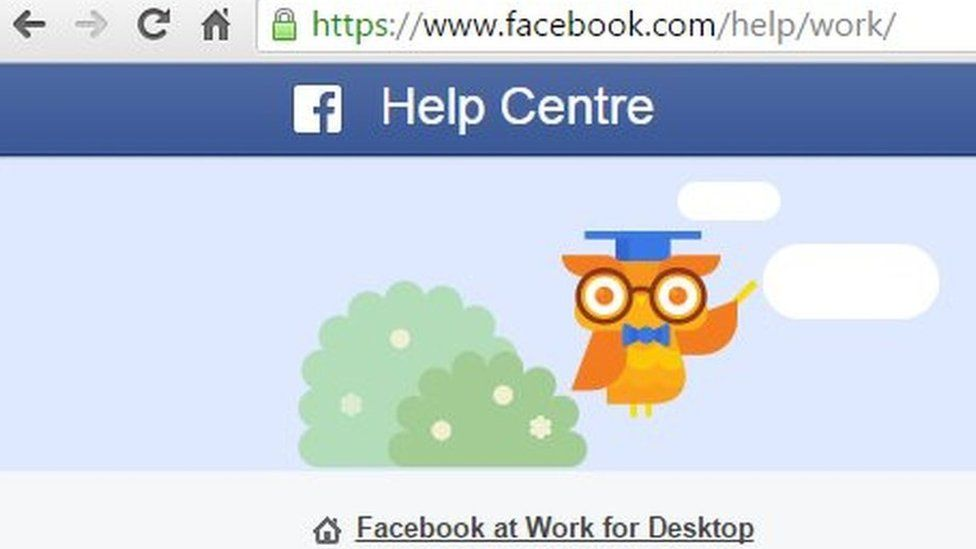 Screengrab of Facebook at Work page
