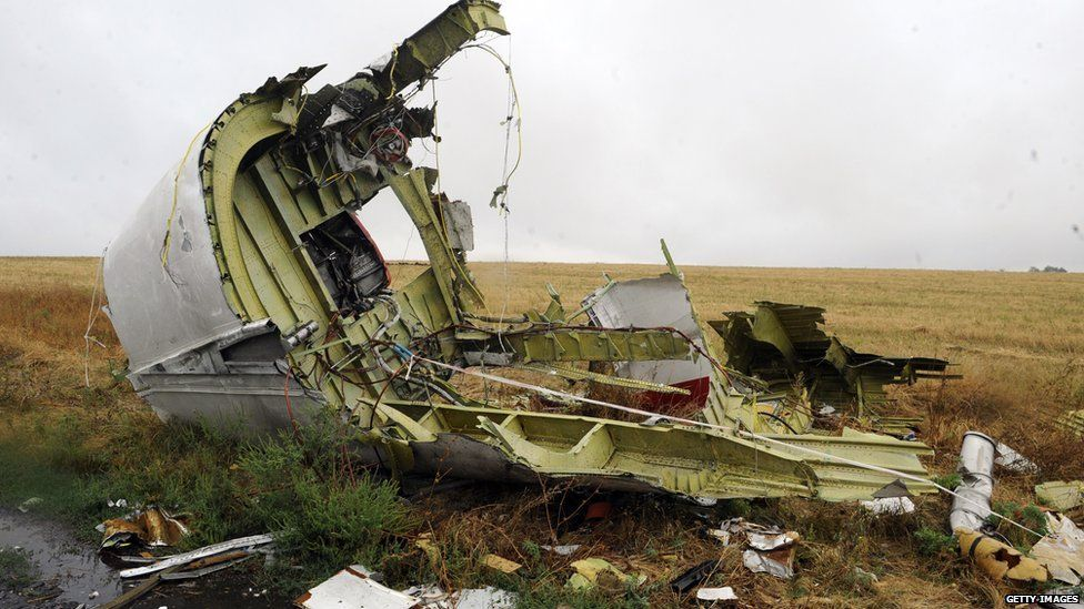 A photo taken on September 9, 2014 shows part of the Malaysia Airlines Flight MH17 at the crash site in the village of Hrabove (Grabovo), some 80km east of Donetsk.