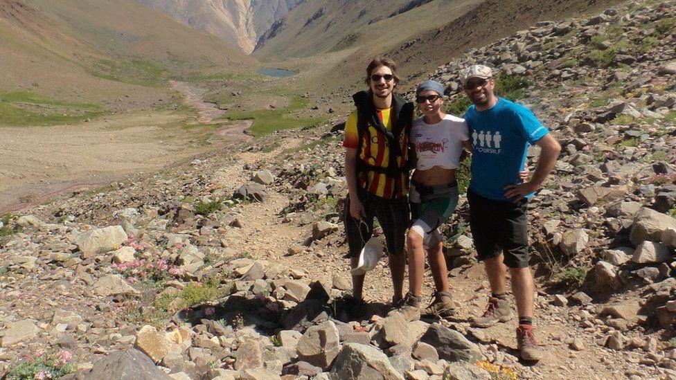 S-Biomedic team hiking in Chile