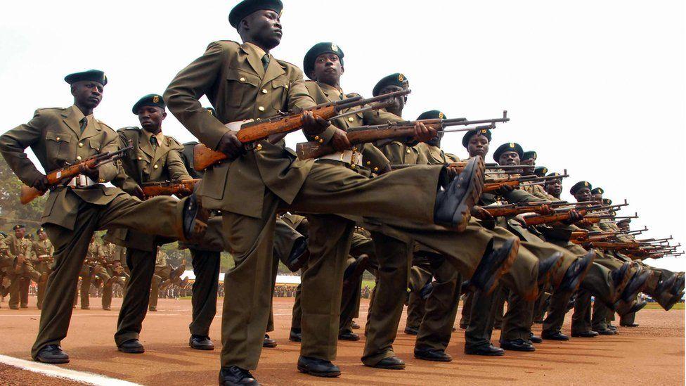 Ugandan soldiers training