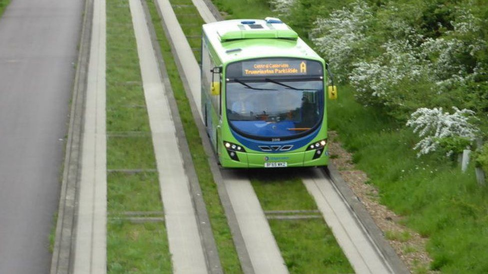 Bus on guided busway