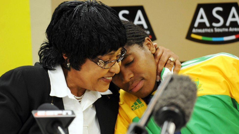 Winnie Mandela and Caster Semenya talk to press during the Team SA Press Conference at the Holiday Inn on August 25, 2009 in Johannesburg, South Africa