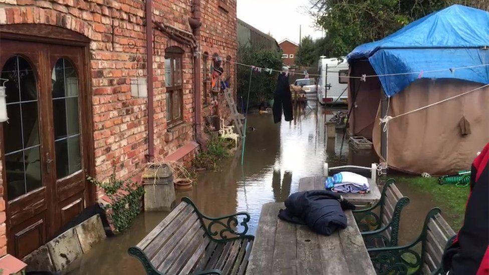 A flooded home in Snaith