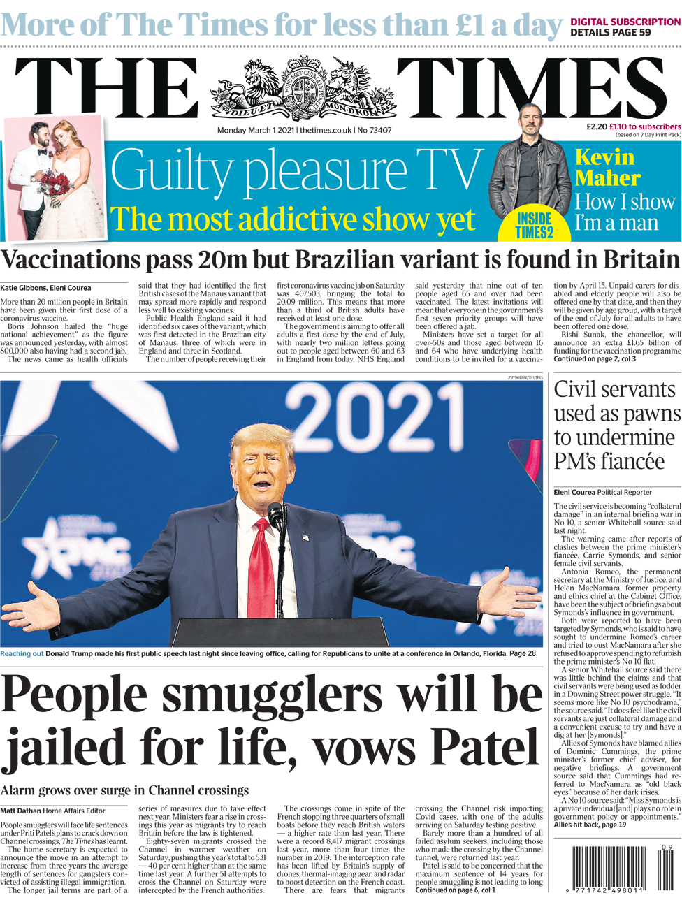 The Times front page 1 March 2021